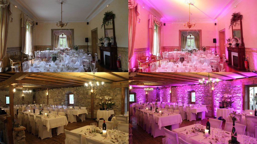 location sonorisation et éclairage haute-savoie - décoration éclairage led salle mariage boly